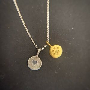 Silver and gold dog tags necklace